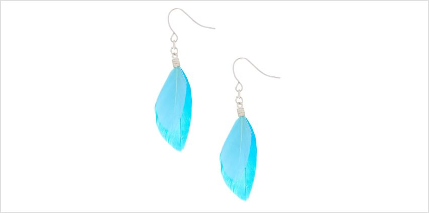 "Go to Product: 2"" Feather Drop Earrings - Blue from Claires"