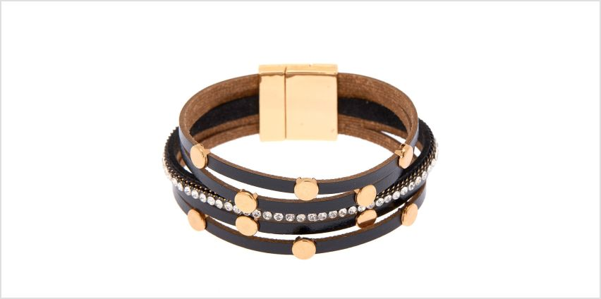Go to Product: Gold Layered Wrap Bracelet - Black from Claires