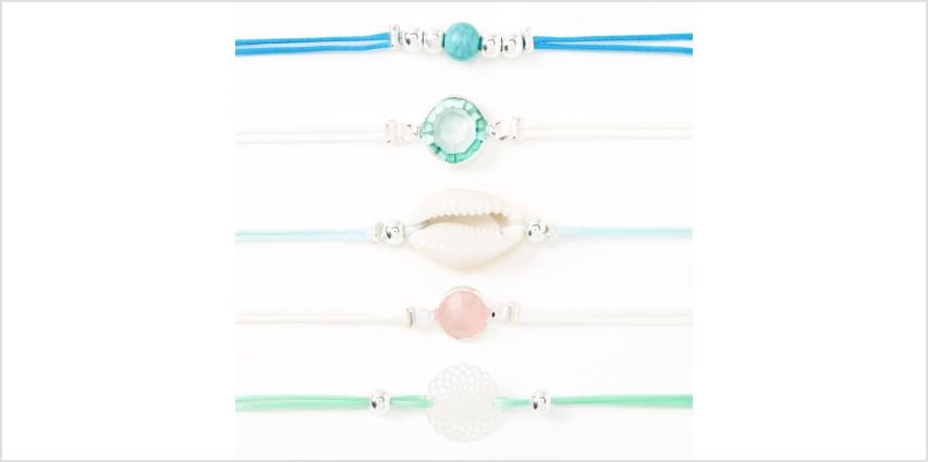 Go to Product: Silver Filigree Seashell Stone Bracelets - Blue, 5 Pack from Claires