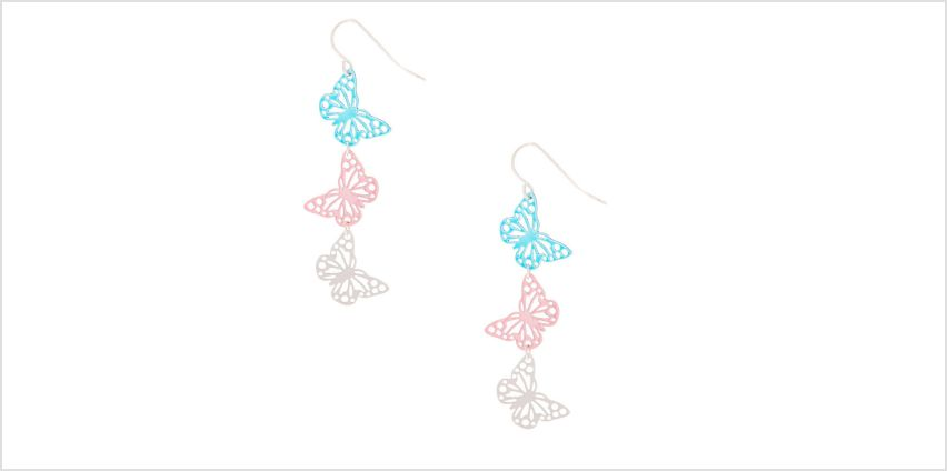 "Go to Product: 2"" Filigree Butterfly Drop Earrings from Claires"