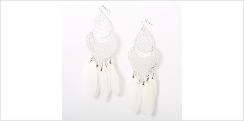 """Go to Product: Silver 6"""" Filigree Feather Drop Earrings - White from Claires"""