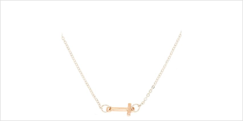 Go to Product: Mixed Metal Sideways Initial Pendant Necklace - T from Claires