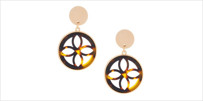 "Go to Product: Gold 1.5"" Wooden Tortoiseshell Drop Earrings - Brown from Claires"