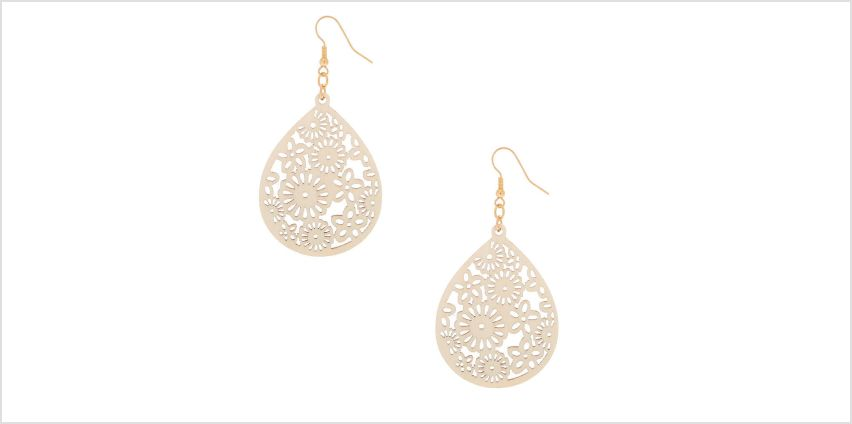 """Go to Product: Gold 2.5"""" Floral Wooden Teardrop Drop Earrings - Cream from Claires"""