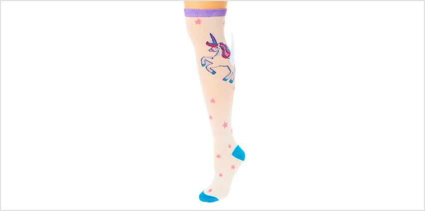 Go to Product: 3D Unicorn Wings Knee High Socks - White from Claires