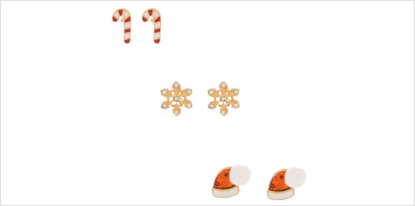 Go to Product: 18kt Gold Plated Christmas Stud Earrings - 3 Pack from Claires