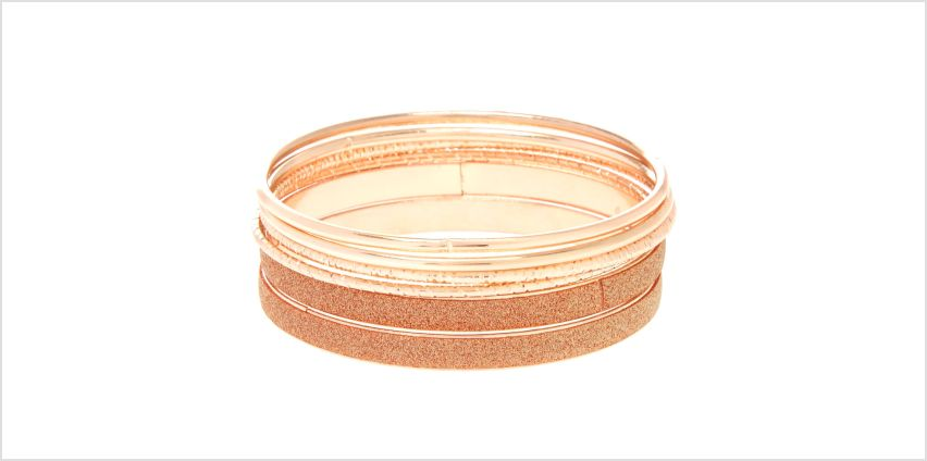 Go to Product: Rose Gold Mixed Bangle Bracelets - 6 Pack from Claires