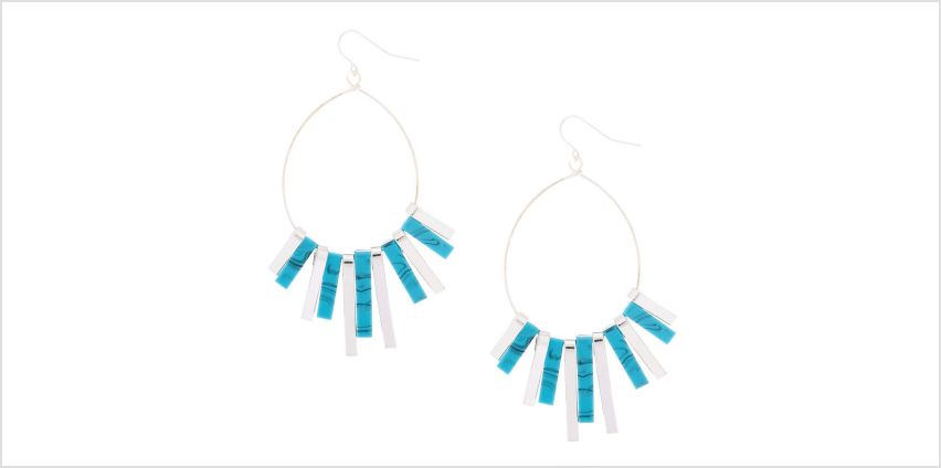 """Go to Product: Silver 2.5"""" Marble Bar Drop Earrings - Turquoise from Claires"""