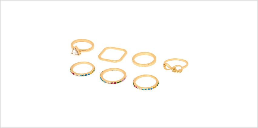 Go to Product: Gold Rainbow Assorted Rings - 7 Pack from Claires