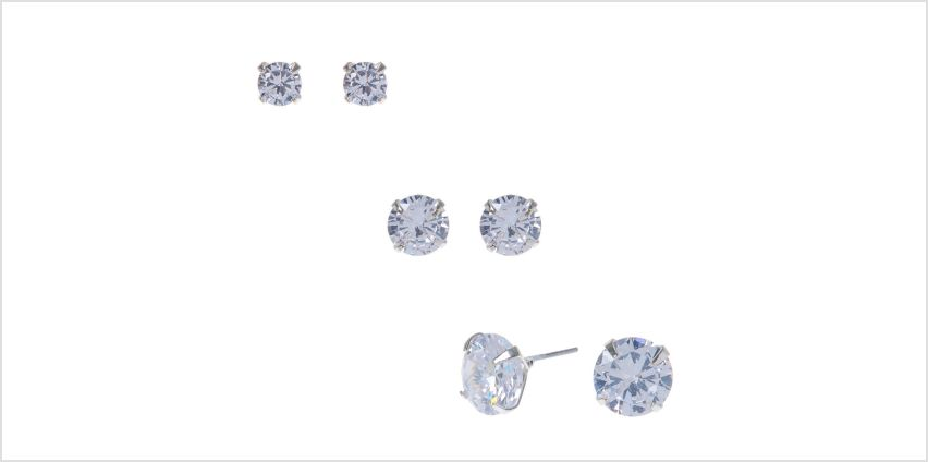 Silver Cubic Zirconia Graduated Round Stud Earrings - 3 Pack from Claires