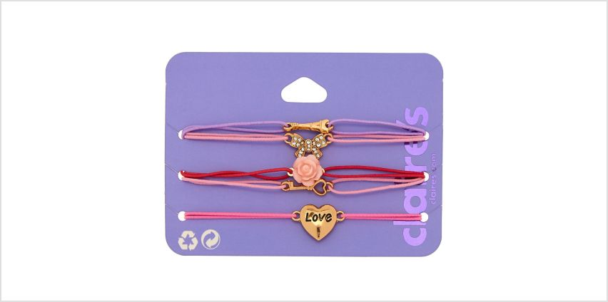 Go to Product: Romantic Paris Love Stretch Bracelets - Pink, 5 Pack from Claires