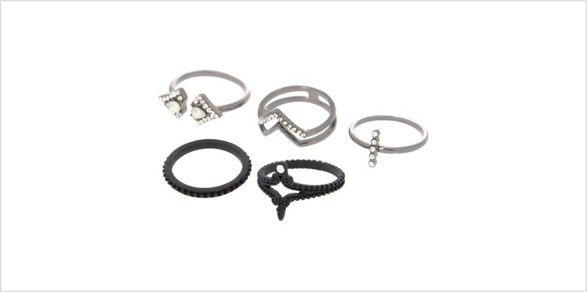 Go to Product: Hematite Gothic Rings - Black, 5 Pack from Claires