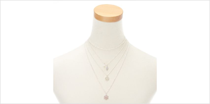 Go to Product: Dainty Floral Multi Strand Necklace - Pink from Claires