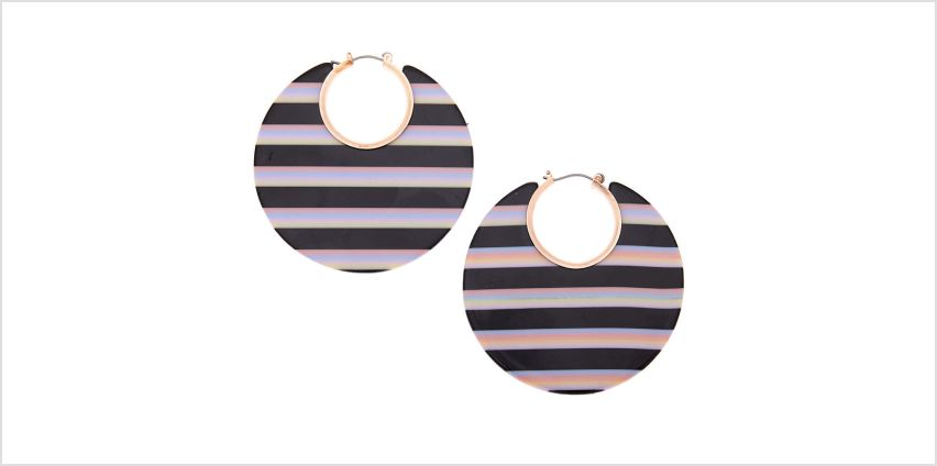 Go to Product: Rose Gold 55MM Striped Thick Hoop Earrings - Black from Claires