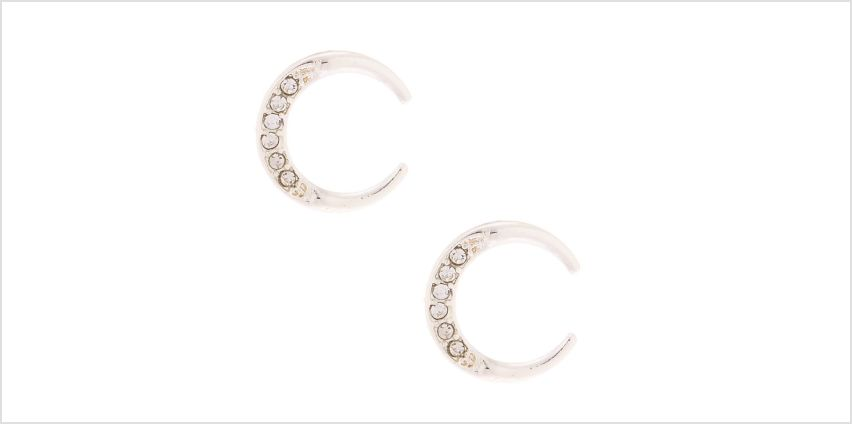 Go to Product: Silver Half Moon Crystal Stud Earrings from Claires