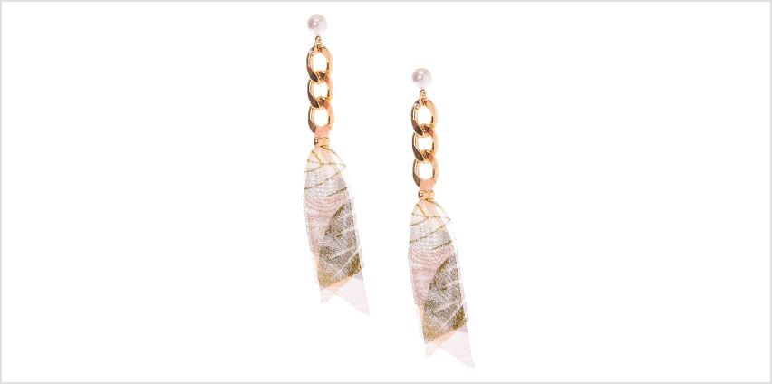 """Go to Product: Gold 3.5"""" Chain & Ribbon Drop Earrings from Claires"""