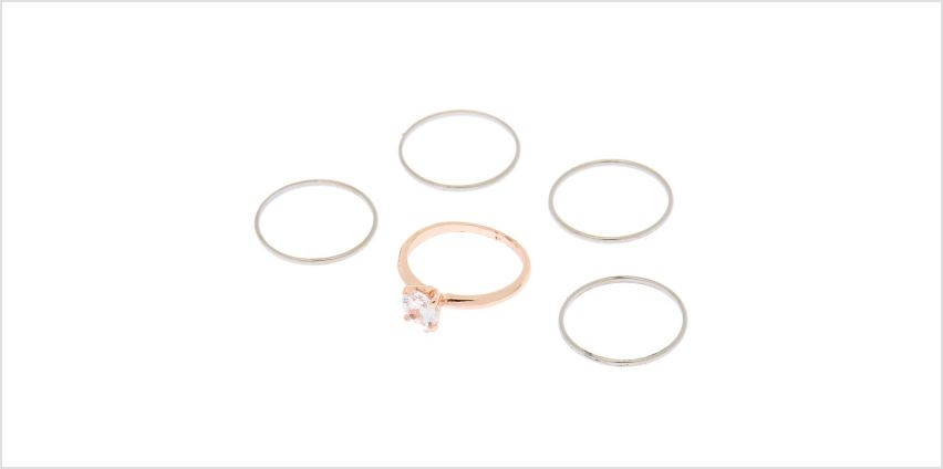Go to Product: Mixed Metal Cubic Zirconia Rings - 5 Pack from Claires