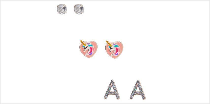 Go to Product: Miss Glitter the Unicorn Initial Stud Earrings - A, 3 Pack from Claires