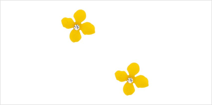 Go to Product: Silver Crystal Flower Stud Earrings - Yellow from Claires