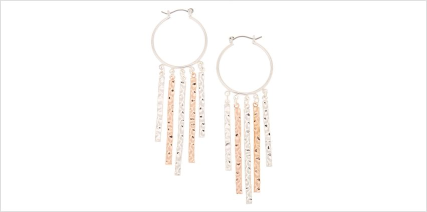 Go to Product: Mixed Metal 30MM Hammered Tassel Hoop Earrings from Claires