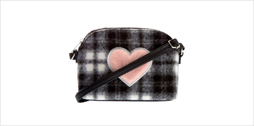 Go to Product: Fuzzy Flannel Heart Crossbody Bag - Black from Claires