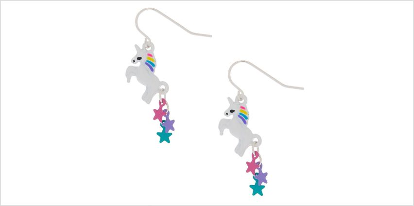 """Go to Product: 1"""" Starry Unicorn Drop Earrings from Claires"""