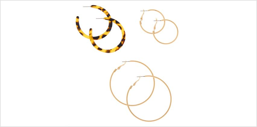 Go to Product: Gold Graduated Resin Tortoiseshell Hoop Earrings - Brown, 3 Pack from Claires