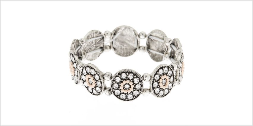 Go to Product: Silver Medallion Stretch Bracelet - Pink from Claires