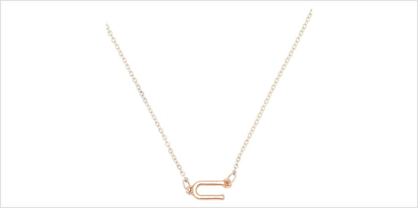 Go to Product: Mixed Metal Sideways Initial Pendant Necklace - U from Claires