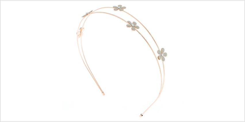 Go to Product: Rose Gold Glitter Flower Double Row Headband from Claires