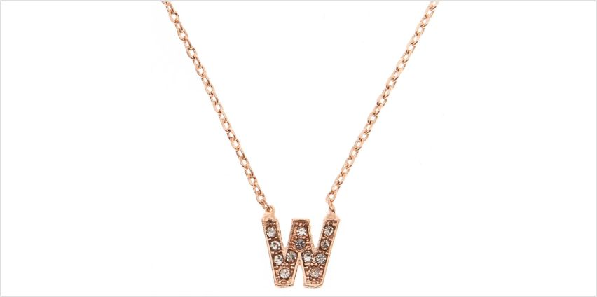 Go to Product: Rose Gold Studded W Initial Necklace from Claires