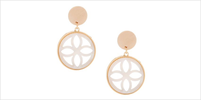 "Go to Product: Gold 1.5"" Wooden Tortoiseshell Drop Earrings - White from Claires"