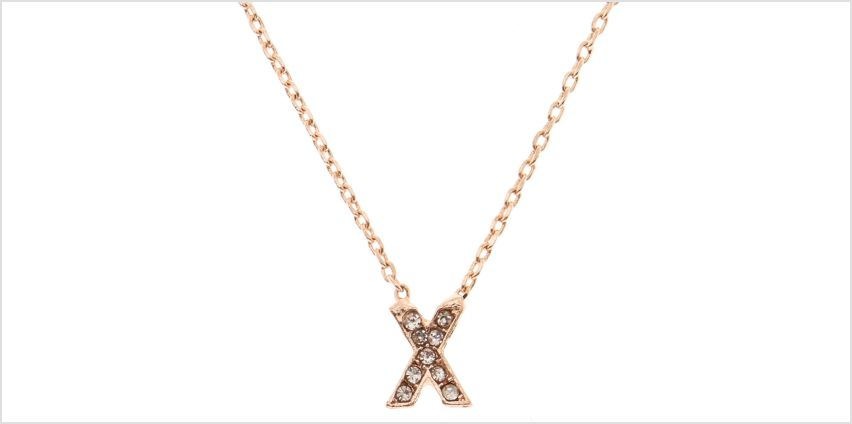 Go to Product: Rose Gold Studded X Initial Necklace from Claires