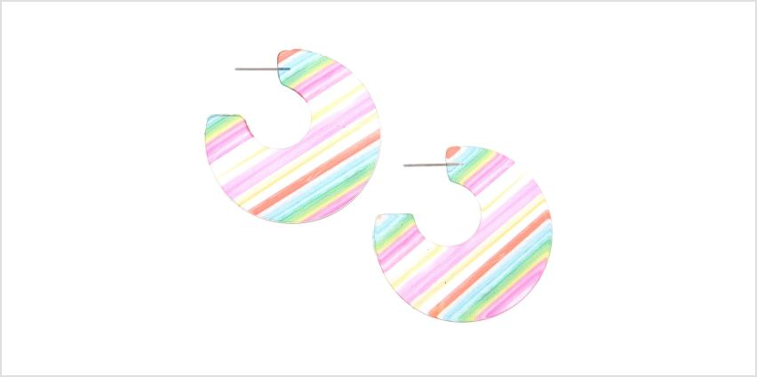 Go to Product: 45MM Striped Hoop Earrings from Claires