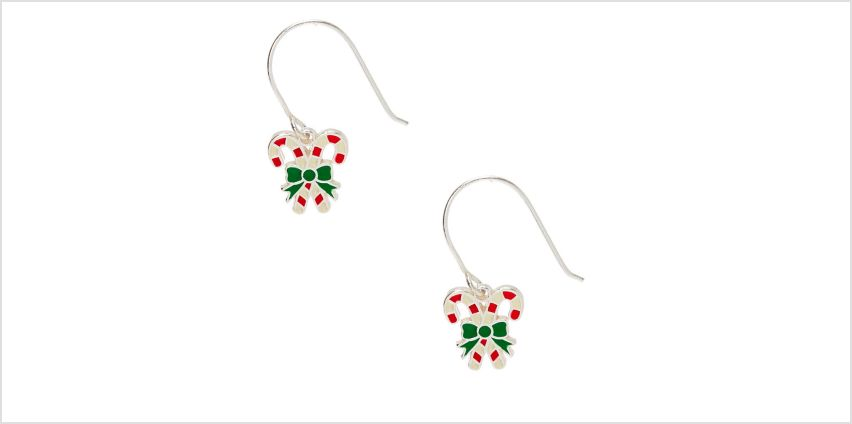"""Go to Product: Sterling Silver 0.5"""" Candy Cane Drop Earrings from Claires"""