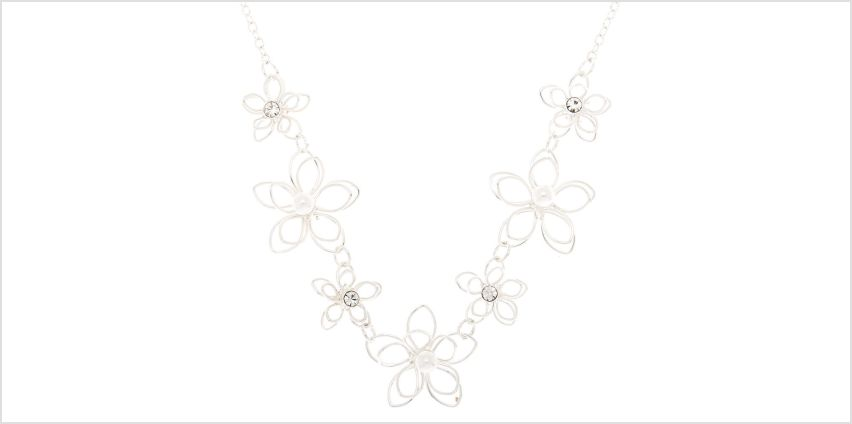 Go to Product: Silver Pearl Wire Flower Statement Necklace from Claires