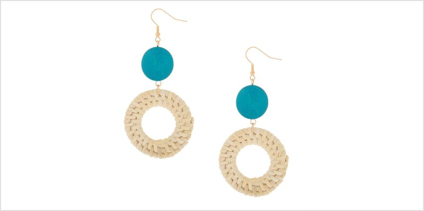 "Go to Product: Gold 3"" Round Straw Drop Earrings - Turquoise from Claires"