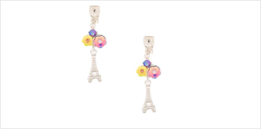 "Go to Product: Silver 1"" Floral Paris Clip On Drop Earrings from Claires"