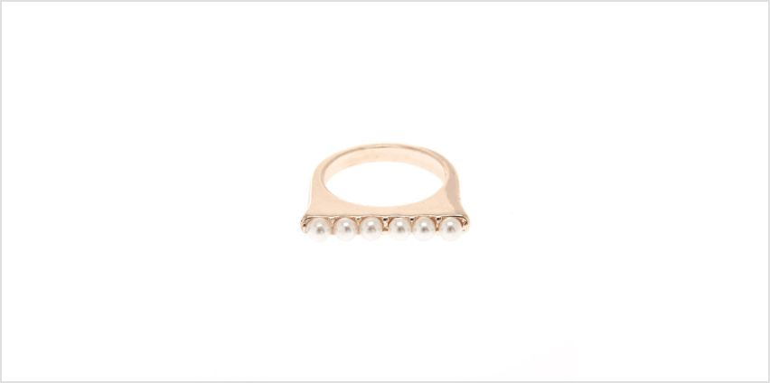 Go to Product: Gold Tone Square Top Ring with Faux Pearls from Claires
