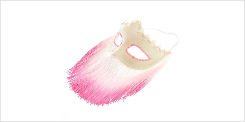 White & Pink Fringe Mask from Claires