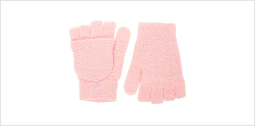 Go to Product: Chenille Fingerless Gloves With Mitten Flap - Pink from Claires
