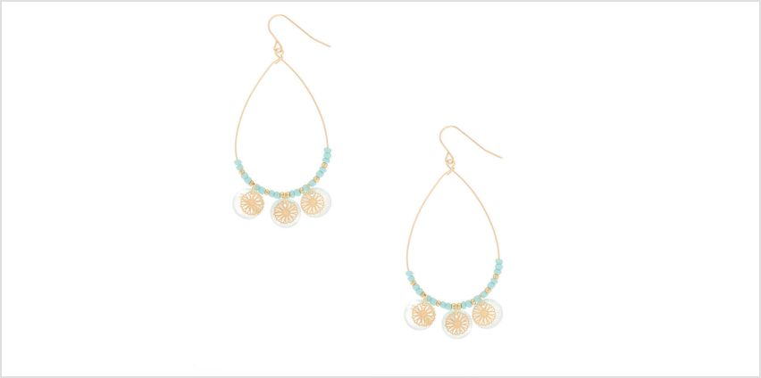 "Go to Product: Gold 2.5"" Teardrop Shell Filigree Drop Earrings - Mint from Claires"