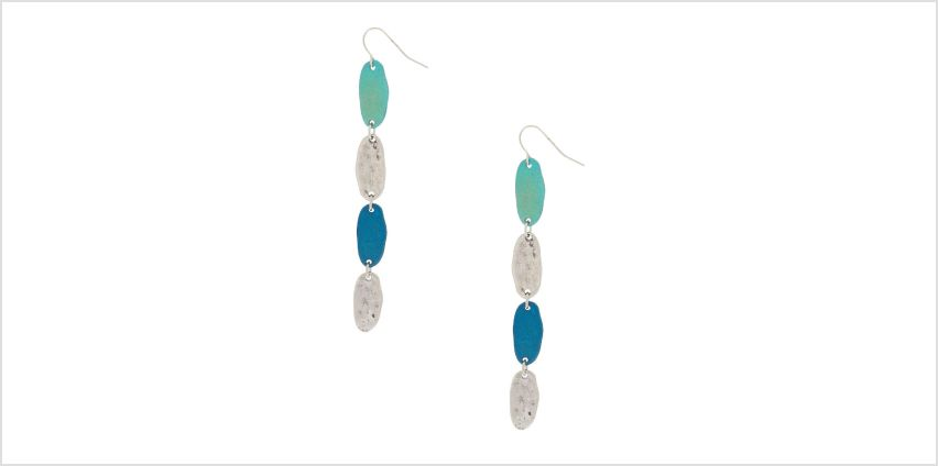 "Go to Product: Silver 3"" Linear Patina Drop Earrings - Blue from Claires"