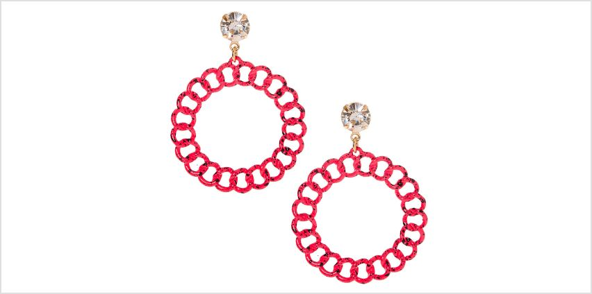 """Go to Product: Gold 2"""" Paint Splatter Chain Link Drop Earrings - Pink from Claires"""