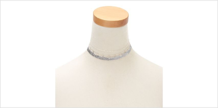 Go to Product: Silver Glitter Choker Necklaces - 3 Pack from Claires