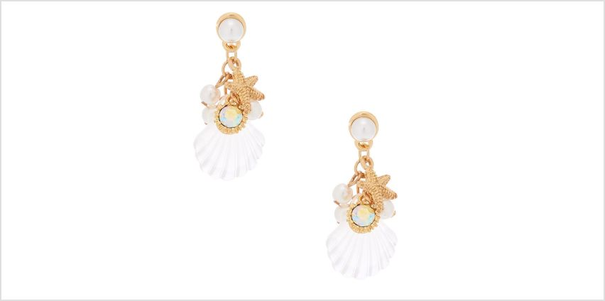 """Go to Product: Gold 1.5"""" Shell Drop Earrings from Claires"""