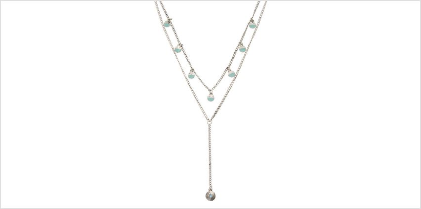 Go to Product: Double Silver Tone Chain with Turquoise Circle Charms Necklace from Claires