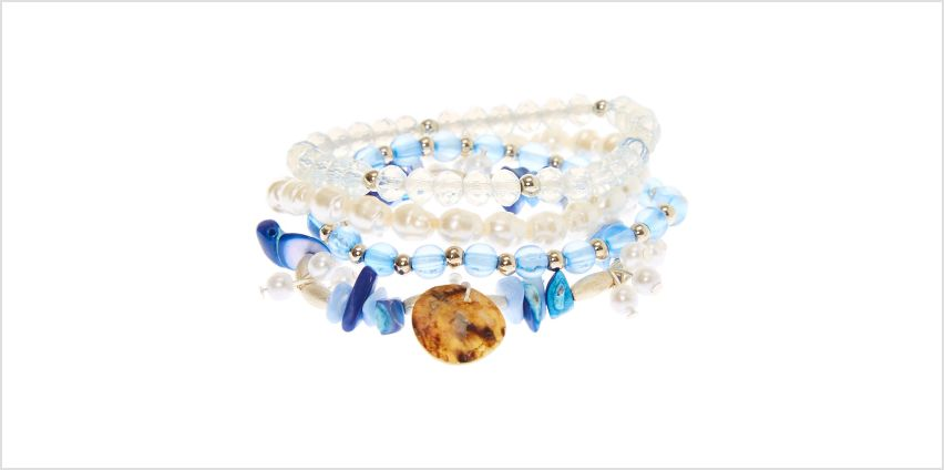 Go to Product: Silver Puka Stone Stretch Bracelets - Blue, 4 Pack from Claires