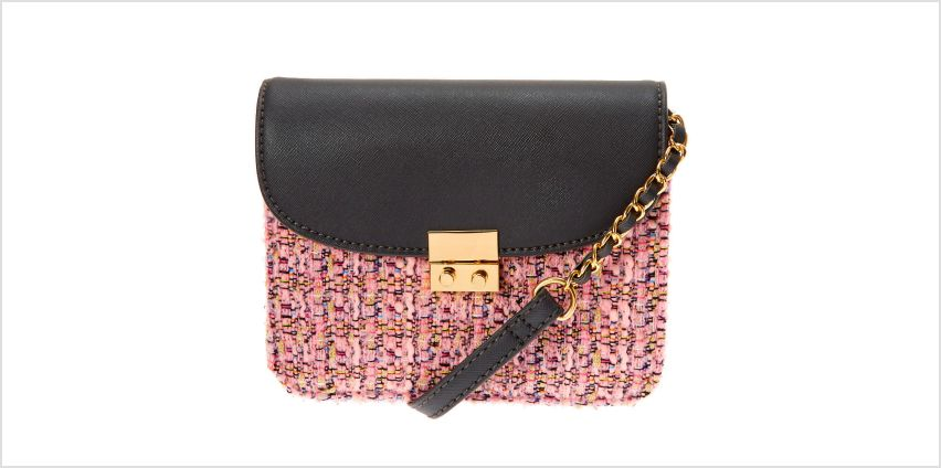 Go to Product: Tweed Crossbody Bag - Pink from Claires