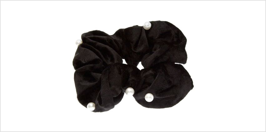 Go to Product: Medium Velvet Pearl Hair Scrunchie - Black from Claires
